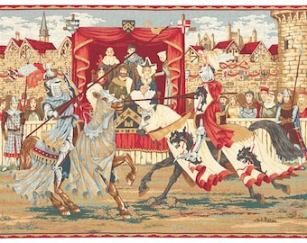 belgian gobelin wall tapestry hanging medieval jousting knights tournament jacquard woven