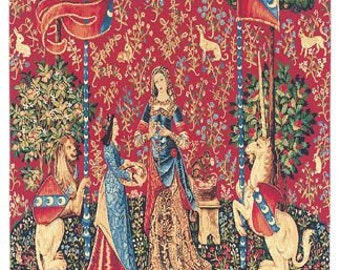 jacquard woven belgian gobelin wall tapestry The Smell Unicorn and lion on Millefleurs background and trees of life wall hanging wall decor
