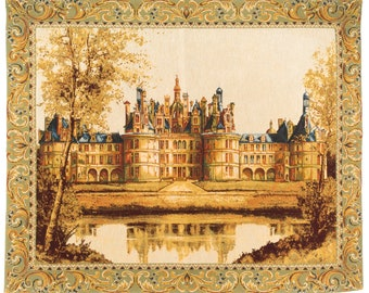 Tapestry Wall Hanging Chambord Castle - French Castle Tapestry Wall Hanging - Loire Castle Decor - French Wall Decor - Louis XIV Castle