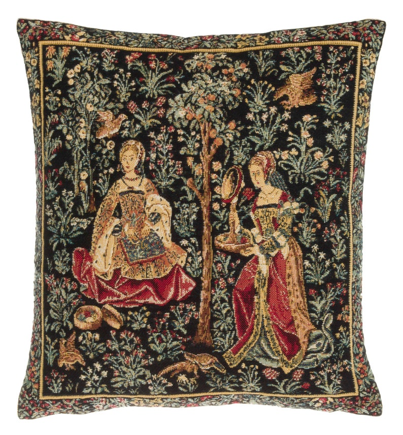 Medieval Tapestry Pillow Cover  Medieval Decor Accent Pillow image 0