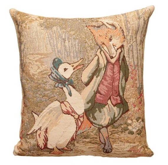belgian tapestry cushion pillow cover Peter Rabbit gardener by Beatrix Potter