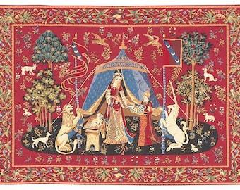 Unicorn wall tapestry hanging - Unicorn Wall Tapestry - Lady and the Unicorn tapestry wall hanging - Unicorn Wall Decor