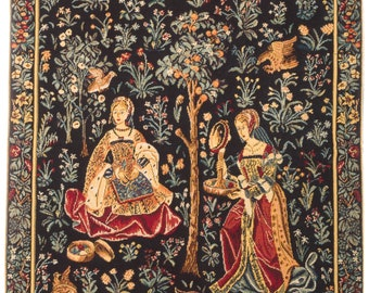 Medieval Tapestry Wall Hanging - Embroidery Scene - Millefleurs motif - Belgian Tapestry - Gobelin Wallhanging