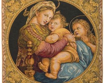 Madonna and Child Tapestry Wall Hanging - Virgin Mary and Child - Religious Art Decor - Religious Wall Decor - Madonna della Seggiola decor