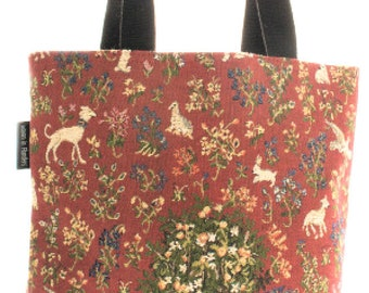 tapestry tote bag Tree of Life - medieval handbag - red hobo bag - tapestry shoulder bag - jacquard woven tote bag - medieval art