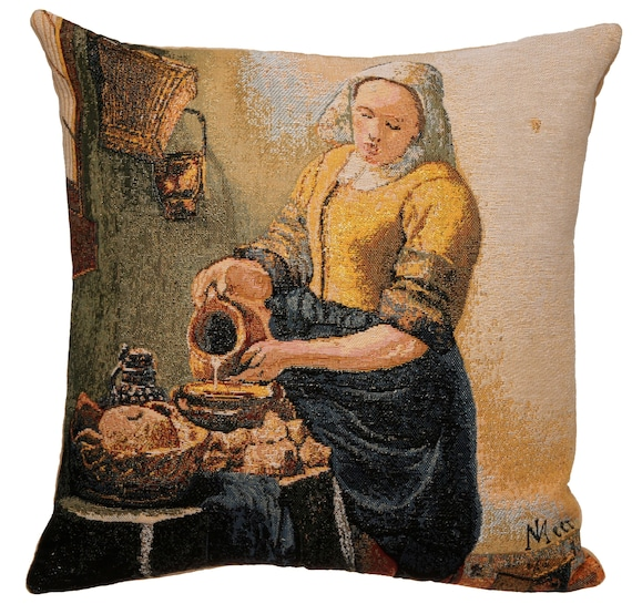 Vermeer Decor Art Decor Vermeer Gift Vermeer Girl With Pearl Pillow Cover