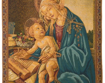 Madonna del Libro Tapestry Wall Hanging - Virgin Mary and Child - Religious Art Decor - Religious Wall Decor - Belgian Tapestry Wall Decor