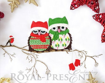 Machine Embroidery Design Christmas owls - 2 sizes