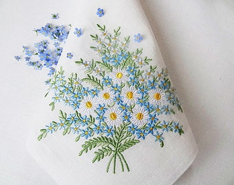 Daisies and Forget-me-nots Set of 3 Machine Embroidery Designs