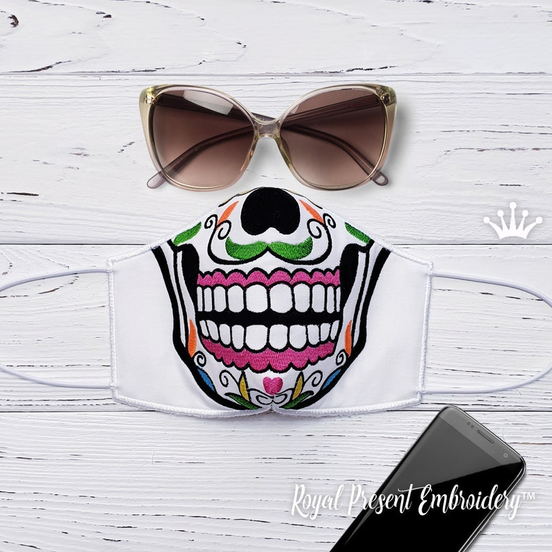 ITH Sugar Skull Face Mask Machine Embroidery design  3 sizes image 0