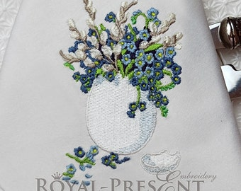 Machine Embroidery Design Easter egg with forget-me-not