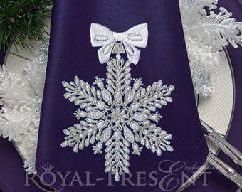 Machine Embroidery Design Christmas snowflake with rubies - 7 sizes