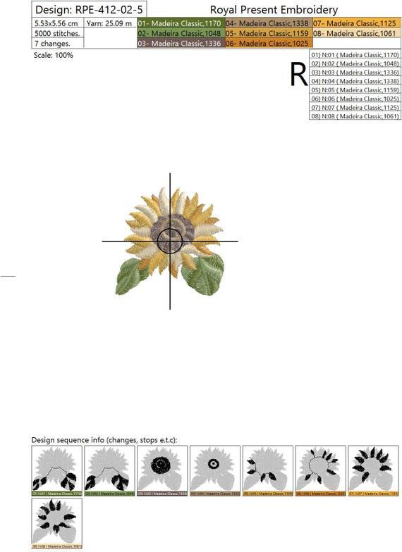 Juego de Girasoles de diseños de bordado de la máquina | Etsy