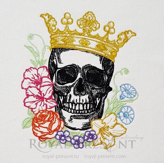 Tattoo Vintage Skull Machine Embroidery Design 2 Sizes