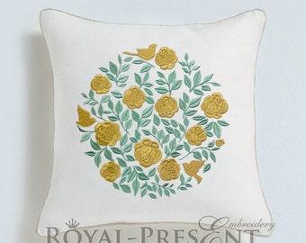 Machine Embroidery Design Round Rose bush - 3 sizes