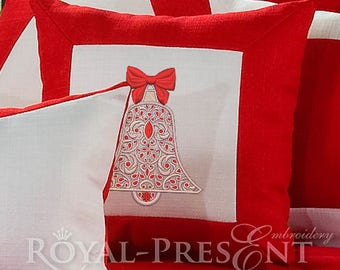Machine embroidery design Christmas bell - 4 sizes