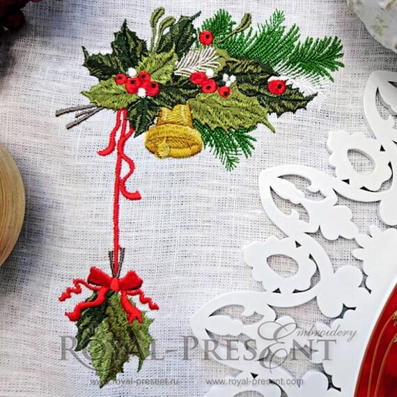 Diseño de bordado de máquina de Navidad vintage con holly | Etsy