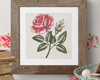 Vintage rose Victorian style Embroidery Design - 4 sizes