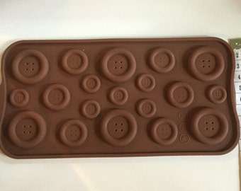Button silicone mould (mold), sugarpaste, chocolate, fondant, cakes, cupcakes, fimo