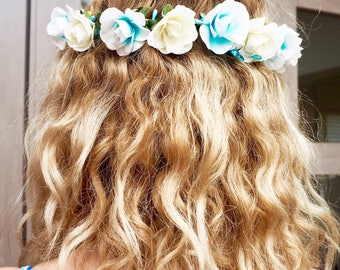 Bella Flower Crown, blue and cream, crystal beads, festival, wedding, summer, party, boho