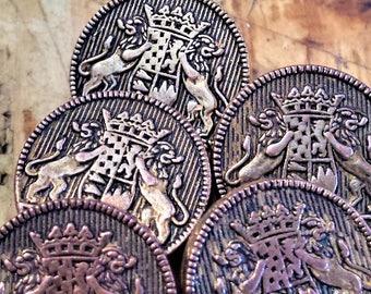 Vintage Set of 5 Brass, Lion Crest Buttons