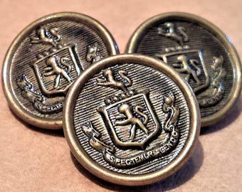 Vintage set of 3 Royal Lion Crest Buttons