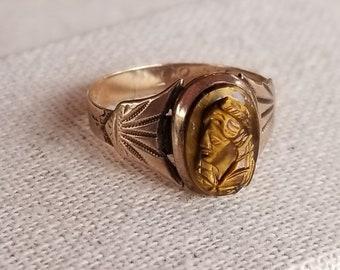 14K Gold, Tigers Eye Ring Ca.1885