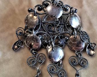 Sterling Silver Tassel Brooch