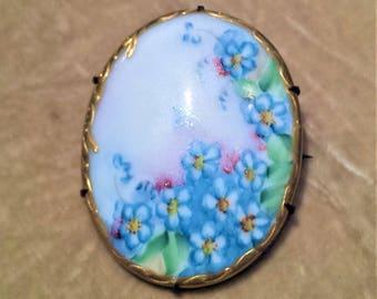 ca. 1910 Floral Painted, Porcelain Brooch