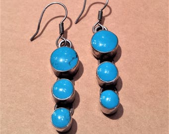 Blue Stone, Sterling Silver, Mexico Earrings