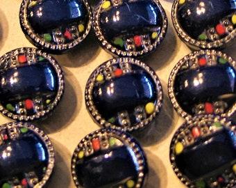 Art Deco, Glass Buttons, Set of 22, Original Package