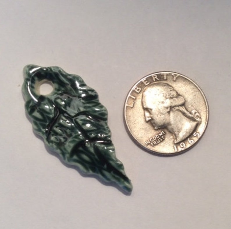 ceramic 1.75-inch Glossy stoneware dark forest green one hole leaf pendant piece one of a kind handmade