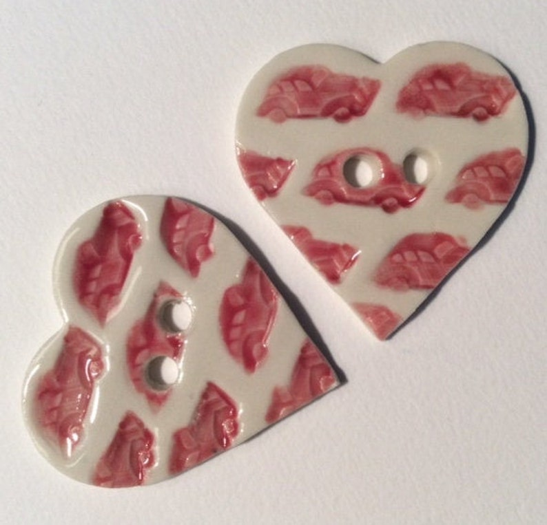 vintage cars automobiles red valentine 1 and 58-inch handmade fine English porcelain ceramic heart buttons white dated 2021 Car lover