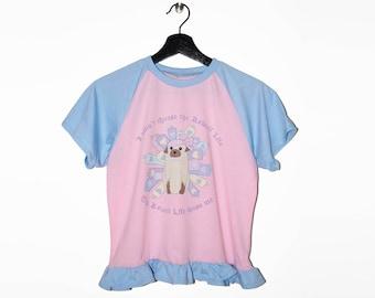Kawaii life raglan t-shirt - fairy kei sweet lolita decora jfashion pug life kawaii pastel mahou kei frills pink blue harajuku