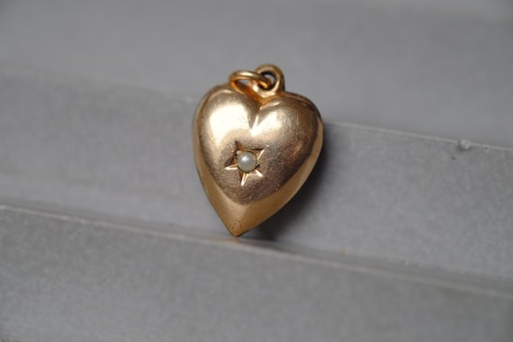 Antique Gold Plated Pearl Star Puffed Heart Charm,
