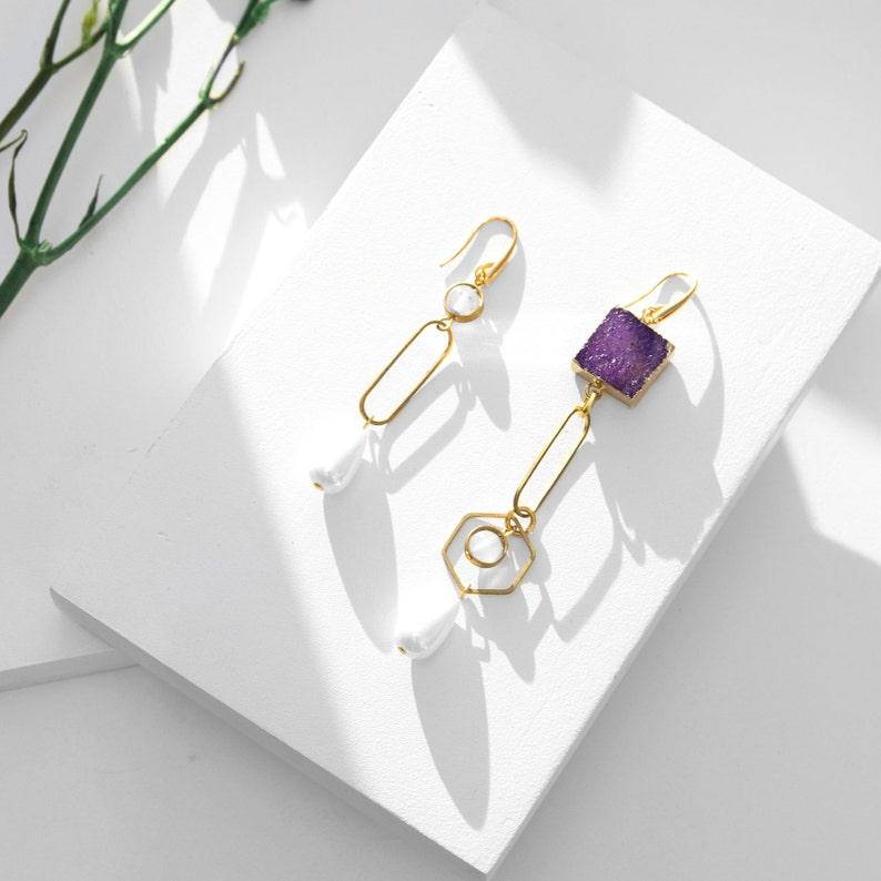 Mismatched earrings purple asymmetrical earrings statement jewelry stone ultra violet earrings long dangle earrings 2018 jewelry trends