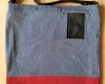 Handcrafted Striped Cotton & Canvas Tote Bag