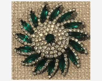 Vintage Kramer Rhinestone and Green Art Glass Pinwheel Flower Brooch