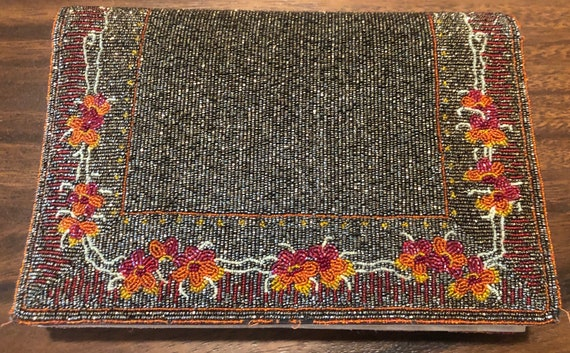 Outstanding Micro Seed Beaded 1960's Clutch Bag P… - image 3