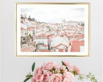 Portugal Wall Art // Lisbon Wall Art Prints // Travel Wall Art // Pastel Wall Art // Living Room Decor // Bathroom Wall Decor
