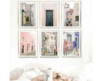 Pastel Set Of 6 Prints // Travel Wall Art Decor // Blush Gallery Wall Set  // Lisbon Portugal // Bestseller