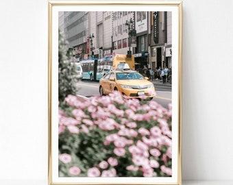 bc47d7ad6f681 New York Drucke Rosa Wand Kunst Yellow Cab Fotografie