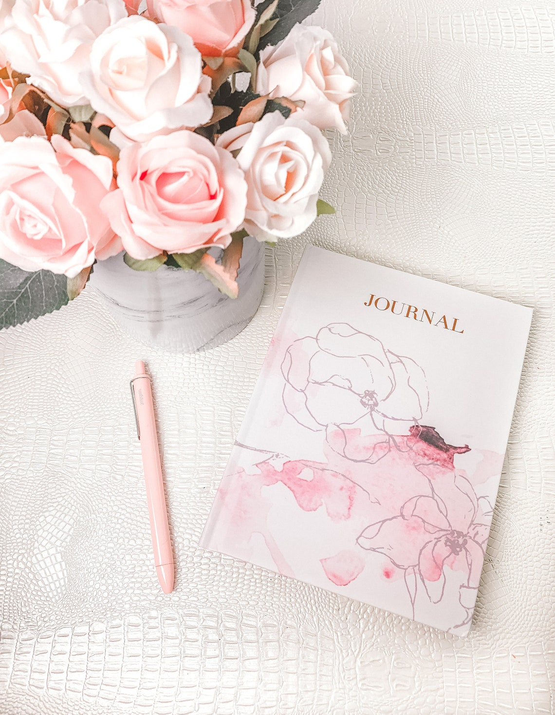 Pastel Pink Floral Journal College Ruled Hardcover Notebook image 0