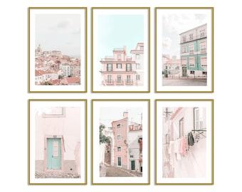 Lisbon Portugal Pastel Set of 6 Prints Travel Wall Art Decor