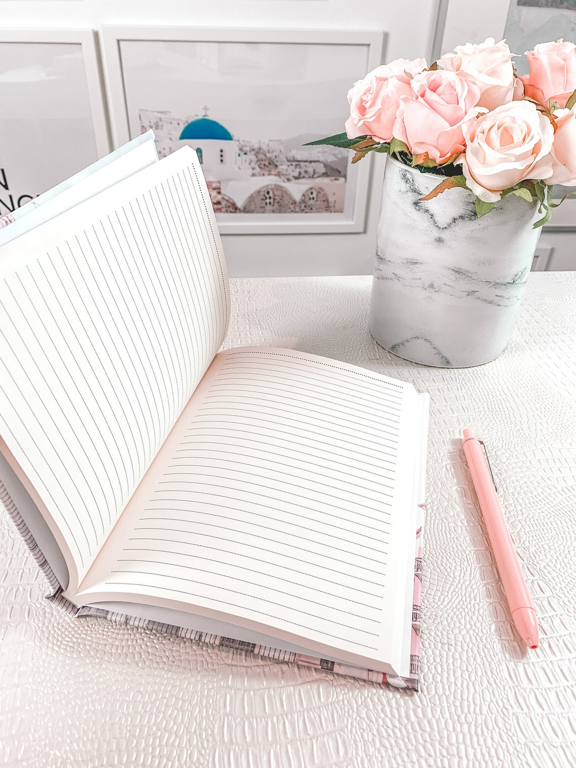 Pastel Pink Floral Journal College Ruled Hardcover Notebook image 2