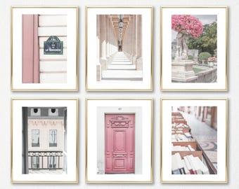 Paris Photography Set of 6 Prints // Pink Travel Prints // French Photography // Gallery Wall Prints // Paris Wall Art Prints // French