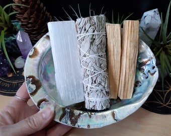 Large Smudge Set - Abalone Shell, Selenite, Palo Santo & White Sage Smudge Set - Cleansing - Protection - Space Clearing - Smudging - LSS