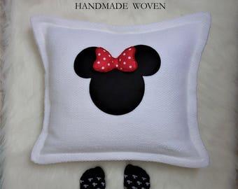 Decorative Mouse Pillow, Decorative Pillows, Monogram pillow, applique pillow, eco-friendly pillow, anniversary gift, personalized pillows