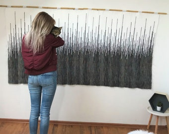 large woven wall hanging, bohemian wall tapestry, macrame wall hanging, handmade headboard, tapestry wedding backdrop, modern woven decor,