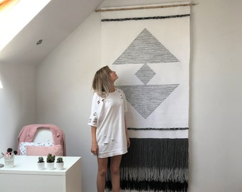 extra large woven wall hanging, wall tapestry, macrame wall hanging, woven wall decor, woven macrame curtains, nature wall tapestry,